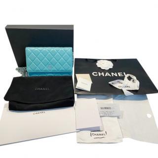 Chanel Turquoise Lambskin Wallet On Chain