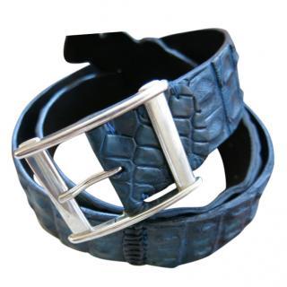 Bespoke Blue Textured Crocodile Leather Belt