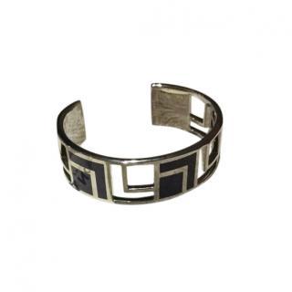 Lancel Art Deco Style Cilver & Black Cuff