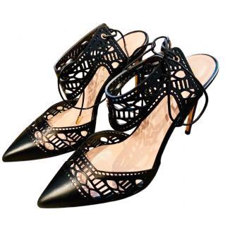 Nicholas Kirkwood laser cut black lace up sandals