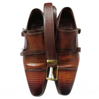 Magnanni Lizard Skin Belt & Double Monk Shoes