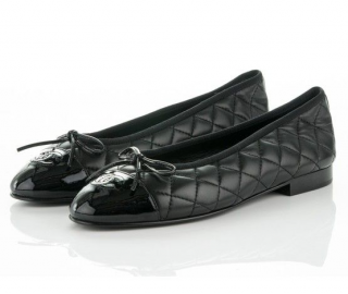 Chanel Calfskin Quilted Ballerina Flats with Patent Cap Toe