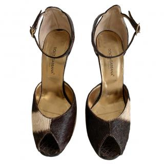 Dolce & Gabbana Pony Hair Sandals with Crystal Heel
