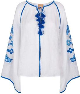 March11 White & Blue Linen Embroidered Kaftan