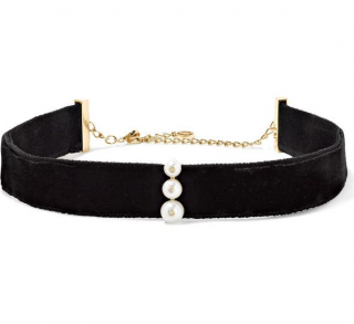 Anissa Kermiche 14 Karat Gold Pearl Diamond And Velvet Choker