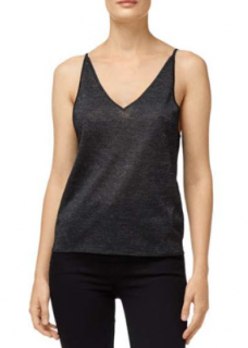 J Brand Black Lurex Lucy Sweater Cami