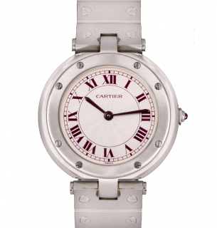 Cartier 32mm Platinum Santos Ronde Mid-Size Watch