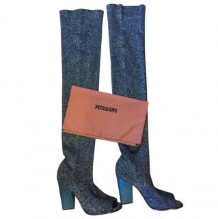 Missoni Metallic Knit Peep Toe Sock Boots