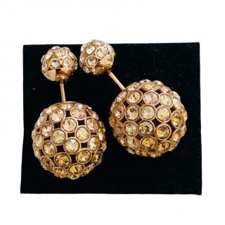 Dior Rose Tone Crystal Tribales Earrings