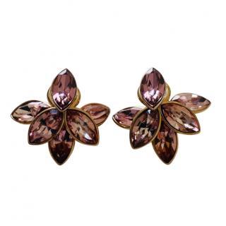 Dior Crystal Flower Petal Tribal Earrings