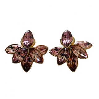 Dior Crystal Flower Petal Tribal Earrings