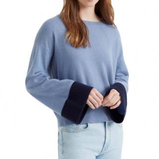 Club Monaco Blue Cashmere Bell Sleeve Sweater