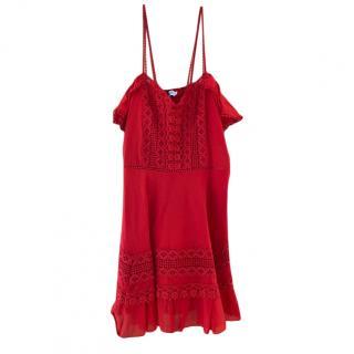 Charo Ruiz Red Crochet Knit Mini Dress