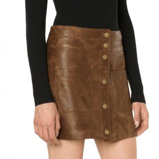 Veronica Beard Distressed Leather Button Front Mini Skirt