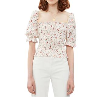 Reformation linen floral print puff sleeve top
