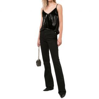 Frame Shiny Black Cami Top