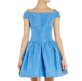Carven Blue Taffeta Cold Shoulder Mini Dress