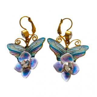 Dolce & Gabbana Butterfly Floral Drop Earrings