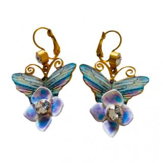 Dolce & Gabbana Butterfly Floral Drop Earrings