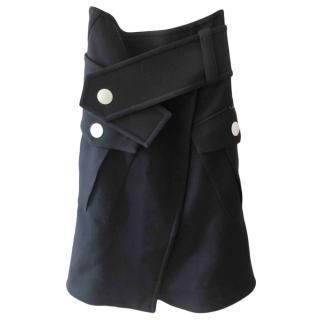 Marni Wool Blend Navy Wrap Skirt