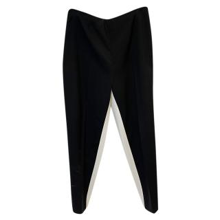 Prada black & cream wool pants