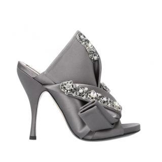 No.21 Grey Satin Crystal Embellished Bow Mules
