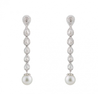 Bespoke White Gold Diamond & Pearl Earrings