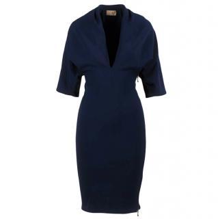 Lanvin Navy Stretch Sheath Dress