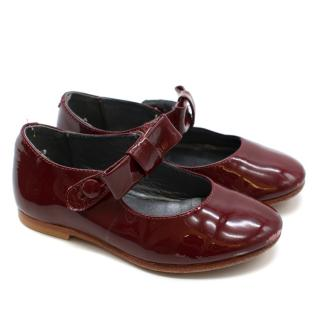 Bonpoint Childrens Cherry Red Patent Leather Pumps