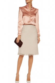 Lanvin Ecru Tweed Fringed Skirt