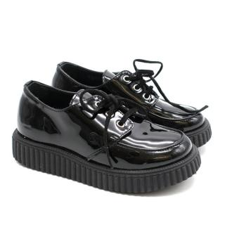 Gucci Children's Black Patent Leather Lace-up Creepers