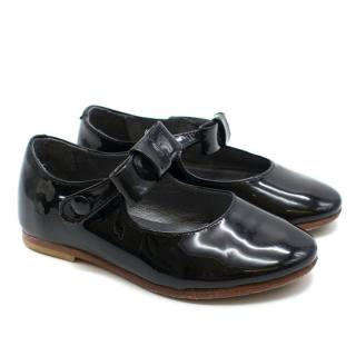 Bonpoint Children's Black Patent Leather Pumps with Bow