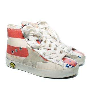 Golden Goose Red & White Striped High Top Sneakers