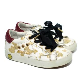 Golden Goose Superstar White Sneakers with Hearts