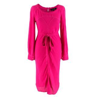 Isabel Marant Pink Silk Contrast Stitch Belted Dress