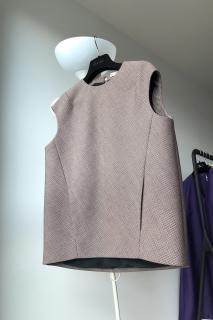 Balenciaga grey check shape shifter top