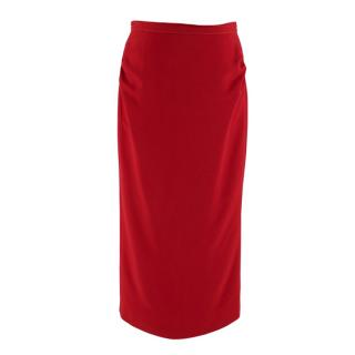 No21 Red Ruched Pencil Skirt