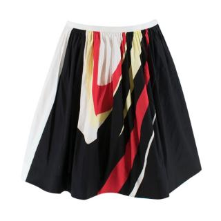 Prada Colour Blocked Printed A-Line Pleated Skirt