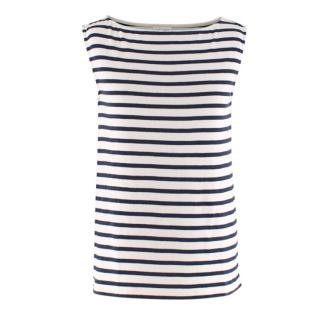 Saint Laurent White & Blue Striped Sleeveless Top