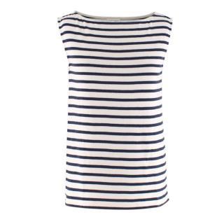 Saint Laurent White & Blue Striped Sleeveless Top