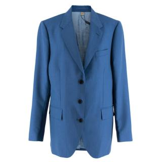 Burberry Women's Blue Wool Blend Single Breasted Jacket