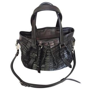 Burberry black leather shoulder tote bag