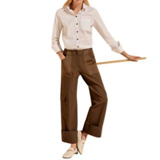 Me+EM Cargo Wide Leg Transformer Trouser in Mud Brown
