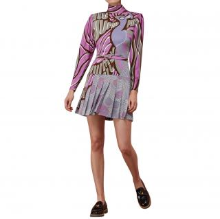 Miu Miu Purple Peacock Print Pleated Dress