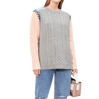 Chinti & Parker Contrast-sleeve Aran-knit Wool Jumper