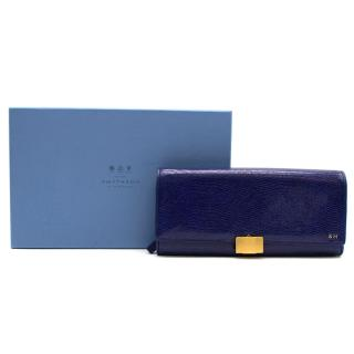 Smythson of Bond Street Large Blue Leather Jewellery Roll