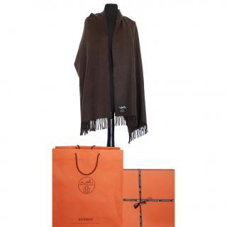 Hermes chocolate brown cashmere shawl