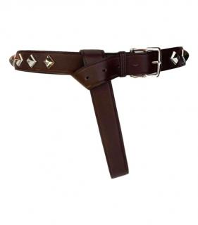 Hermes Brown Palladium Studded Leather Belt