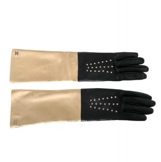 Chanel Two Tone Nappa Leather Studded Gloves
