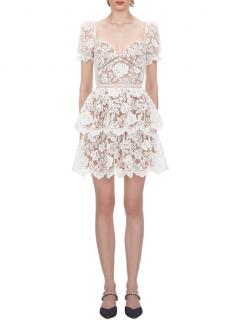 Self Portrait White Sweetheart Neckline Lace Mini Dress